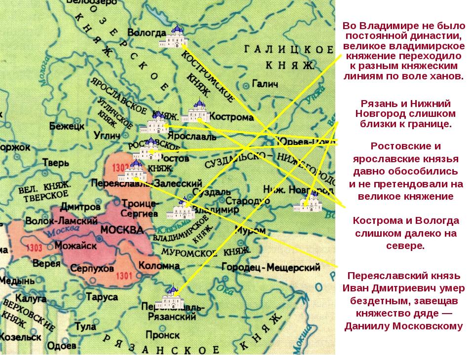 Во Владимире не было постоянной династии, великое владимирское княжение перех...