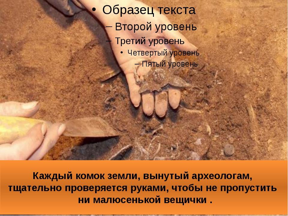 Каждый комок земли, вынутый археологам, тщательно проверяется руками, чтобы н...