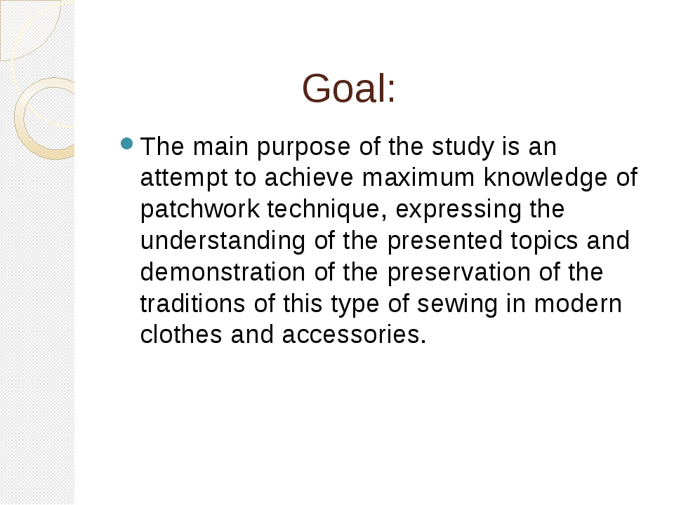 Goal: The main purpose of the study is an attempt to achieve maximum knowled...