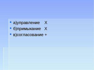 а)управление Х б)примыкание Х в)согласование +