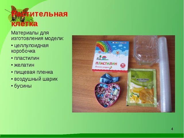 Растительная клетка Материалы для изготовления модели: целлулоидная коробочка...