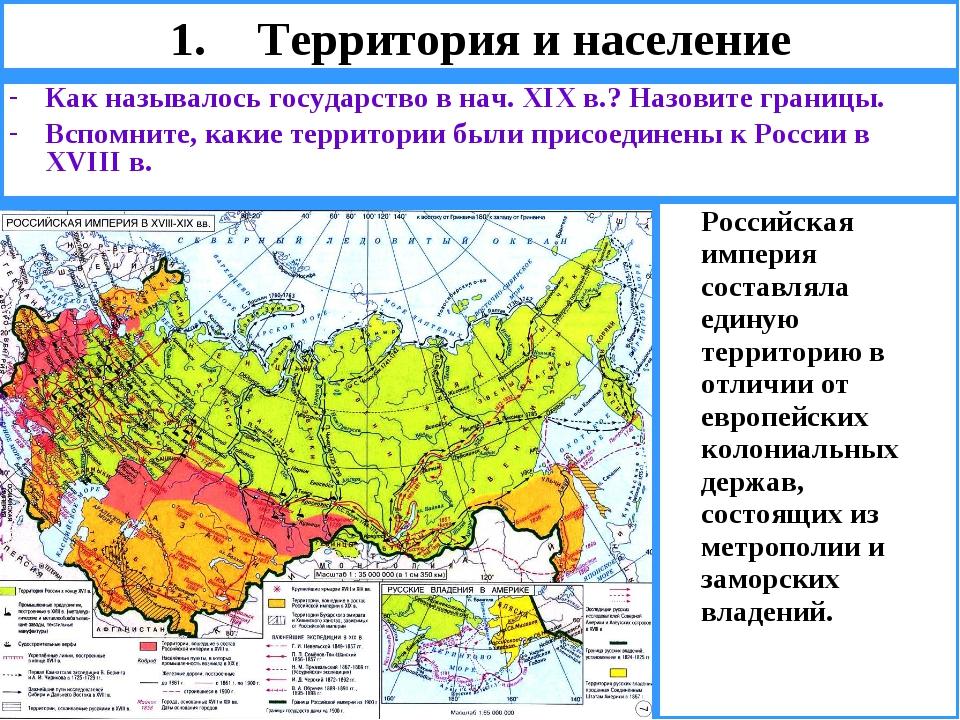 Территория и население Как называлось государство в нач. XIX в.? Назовите гра...