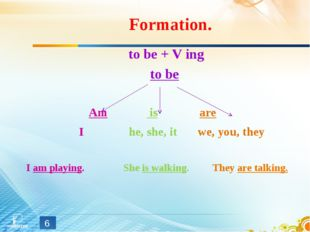 Formation. to be + V ing to be Am is are I he, she, it we, you, they I am pla