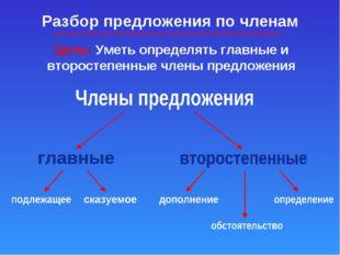 Разбор предложения по членам Цель: Уметь определять главные и второстепенные
