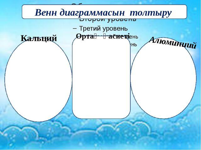 Венн диаграммасын толтыру Алюминиий Кальций Ортақ қасиеті