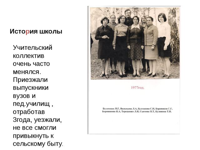 История школы Учительский коллектив очень часто менялся. Приезжали выпускники...