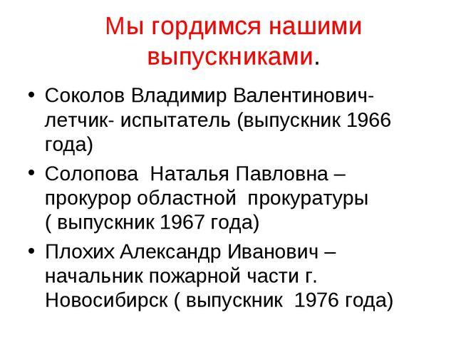 Мы гордимся нашими выпускниками. Соколов Владимир Валентинович-летчик- испыта...
