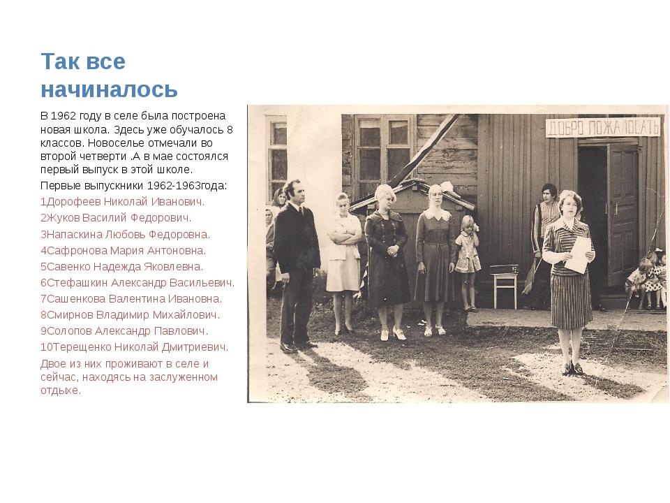 Так все начиналось В 1962 году в селе была построена новая школа. Здесь уже...