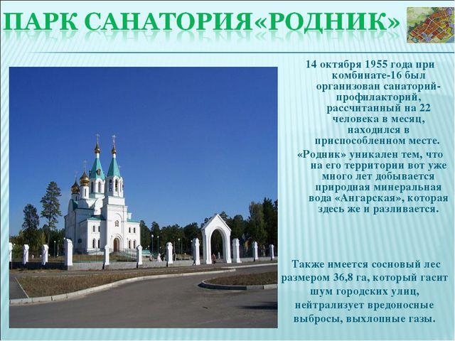 14 октября 1955 года при комбинате-16 был организован санаторий-профилакторий...