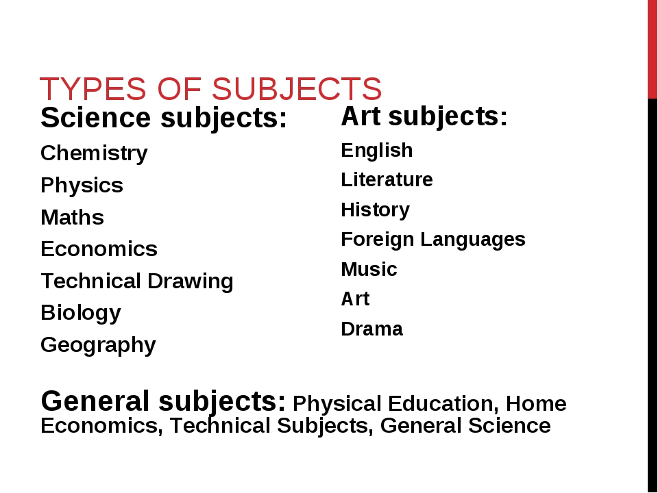 TYPES OF SUBJECTS Science subjects: Chemistry Physics Maths Economics Technic...