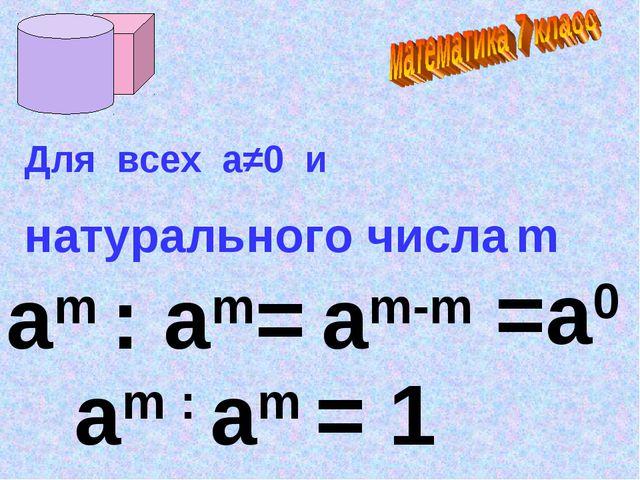 аm : аm= am-m =a0 Для всех а≠0 и натурального числа m am : аm = 1