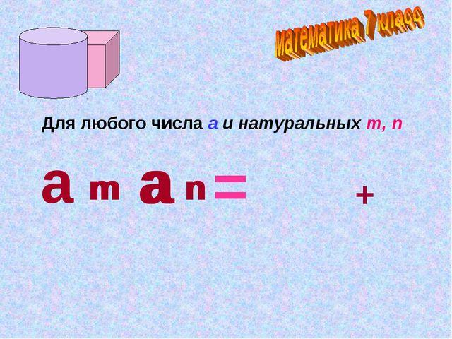 Для любого числа а и натуральных m, n а · m а n = а m + n