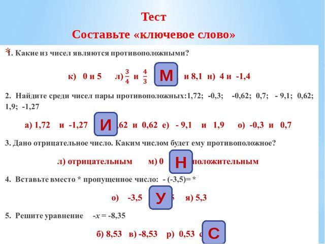 Тест Составьте «ключевое слово» М И Н У С
