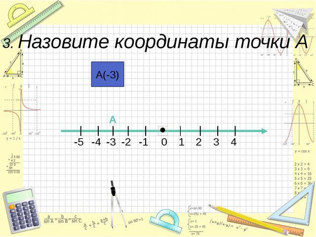 А(-3) 0 4 3 2 1 -5 -1 -2 -3 -4 А 3. Назовите координаты точки А