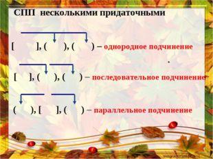 СПП несколькими придаточными [ ], ( ), ( ) – однородное подчинение  [ ], (