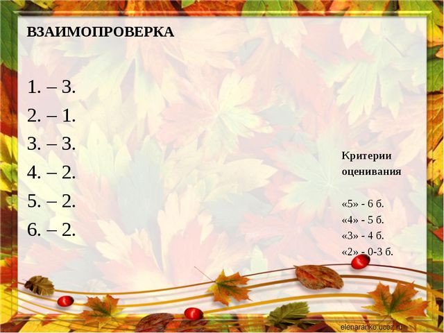 ВЗАИМОПРОВЕРКА 1. – 3. 2. – 1. 3. – 3. 4. – 2. 5. – 2. 6. – 2. Критерии оцени...
