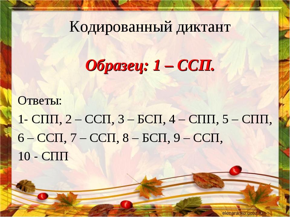 Кодированный диктант Образец: 1 – ССП. Ответы: 1- СПП, 2 – ССП, 3 – БСП, 4 –...