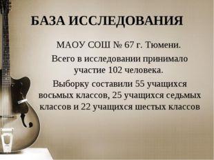БАЗА ИССЛЕДОВАНИЯ МАОУ СОШ № 67 г. Тюмени. Всего в исследовании принимало уча