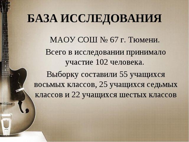 БАЗА ИССЛЕДОВАНИЯ МАОУ СОШ № 67 г. Тюмени. Всего в исследовании принимало уча...