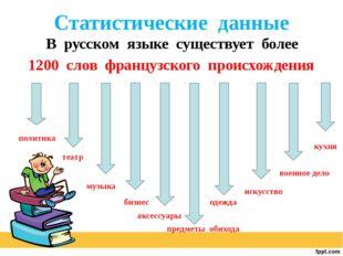Статистические данные В русском языке существует более 1200 слов французского