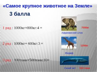 «Самое крупное животное на Земле» Африканский слон Жираф 1 ряд : 1000кг+800кг