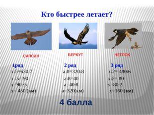 Кто быстрее летает? САПСАН ЧЕГЛОК БЕРКУТ 1ряд 2 ряд 3 ряд х:5=630:7 а:8=320:8