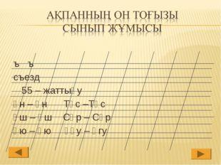 ъ ъ съезд 55 – жаттығу Ұн – Үн Тұс –Түс Ұш – Үш Сұр – Сүр Ұю – Үю Ұғу – Үгу