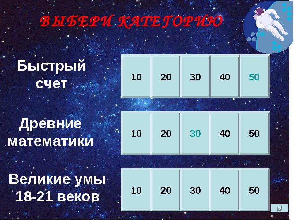Быстрый счет Древние математики Великие умы 18-21 веков 10 20 50 40 30 10 20...
