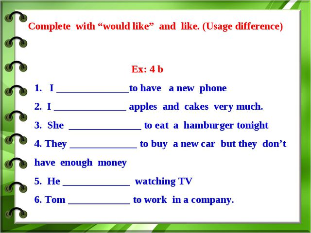 "Complete with ""would like"" and like. (Usage difference) Ex: 4 b 1. I ________..."