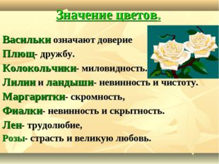 Значение цветов. Васильки означают доверие Плющ- дружбу. Колокольчики- милови