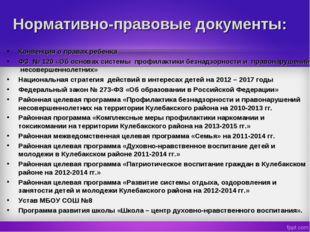 Нормативно-правовые документы: Конвенция о правах ребенка ФЗ № 120 «Об основа