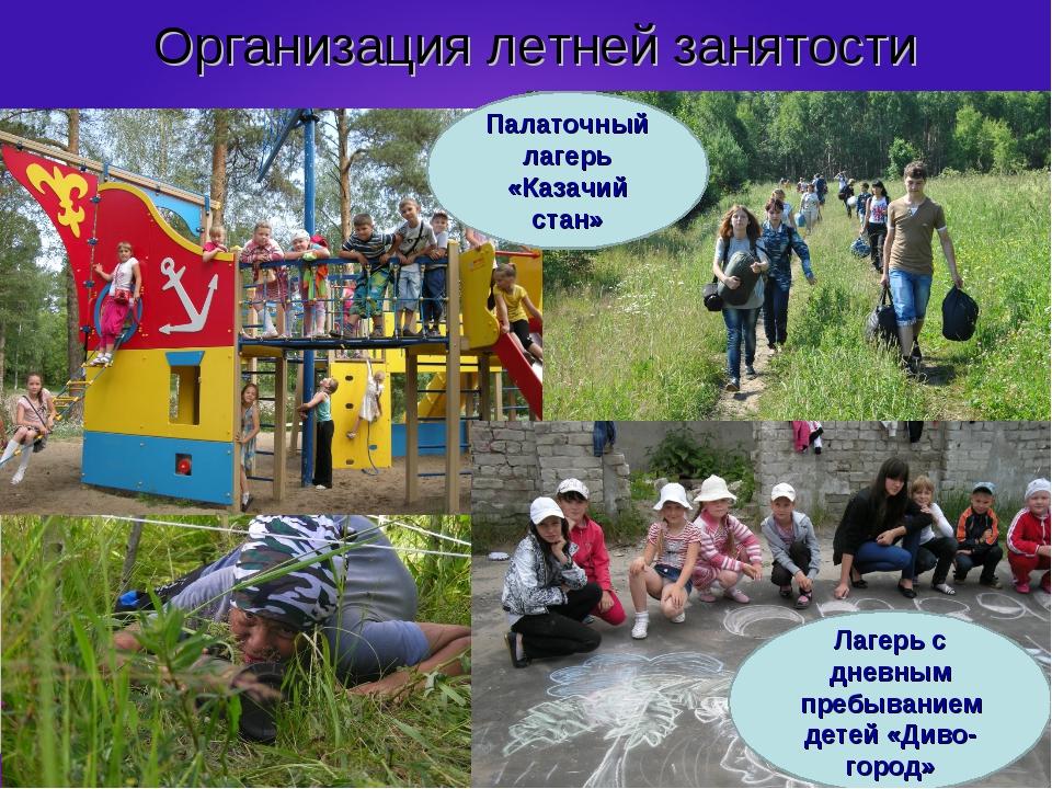 Организация летней занятости Палаточный лагерь «Казачий стан» Лагерь с дневны...