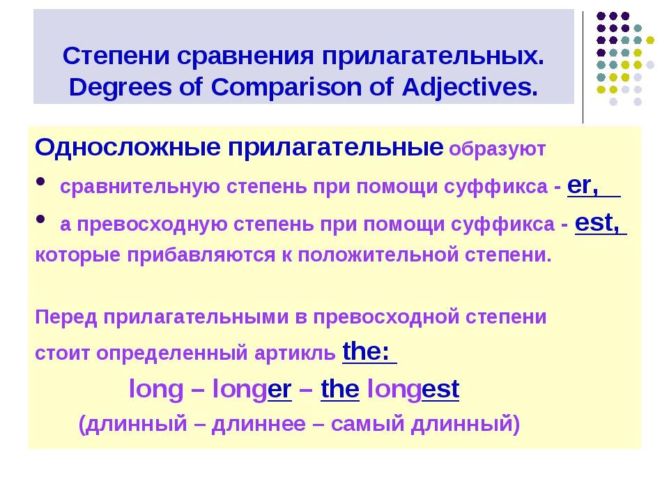 Степени сравнения прилагательных. Degrees of Comparison of Adjectives. Односл...