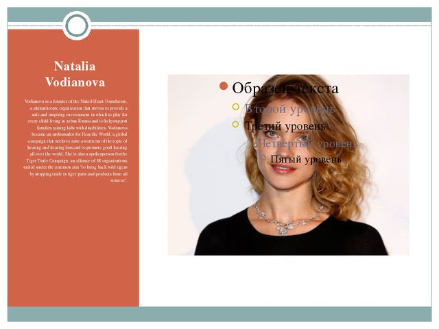 Natalia Vodianova Vodianova is a founder of the Naked Heart Foundation, a phi...