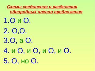 Схемы соединения и разделения однородных членов предложения О и О. О,О. О, а