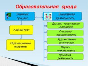 Образовательная среда Учебный процесс Внеучебная деятельность Учебный план Ду