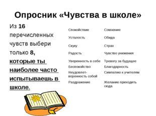 Опросник «Чувства в школе» Из 16 перечисленных чувств выбери только 8, которы