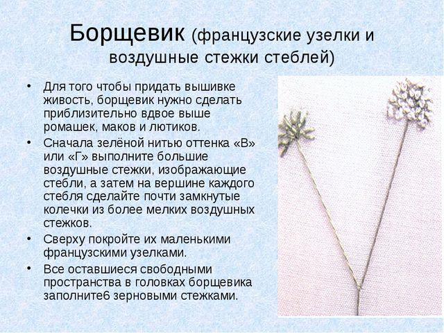 Борщевик (французские узелки и воздушные стежки стеблей) Для того чтобы прида...