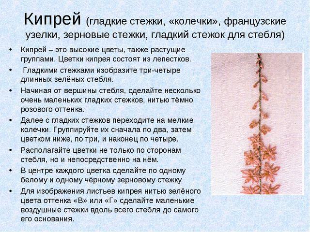 Кипрей (гладкие стежки, «колечки», французские узелки, зерновые стежки, гладк...