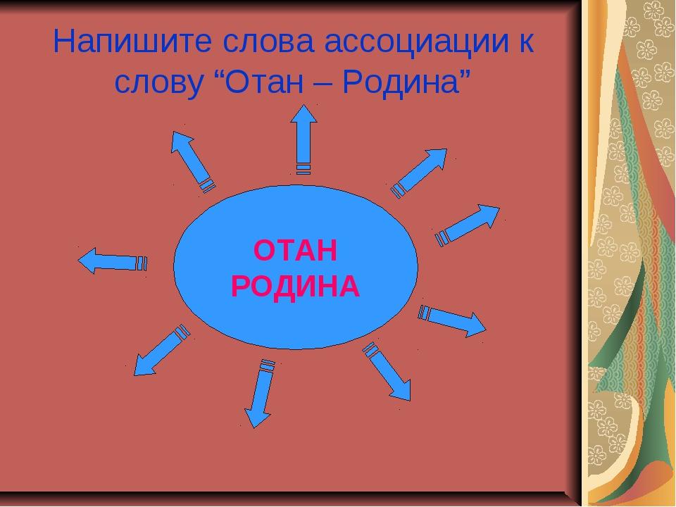 "Напишите слова ассоциации к слову ""Отан – Родина"" ОТАН РОДИНА"