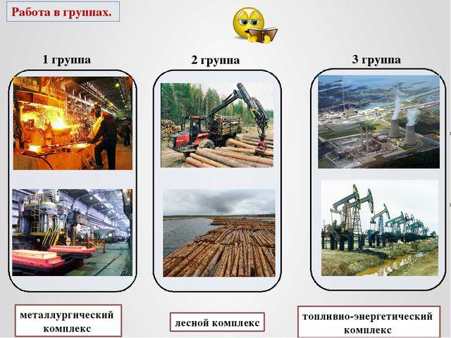 Работа в группах. 1 группа 2 группа 3 группа металлургический комплекс лесно...