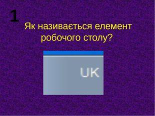 Як називається елемент робочого столу? 1