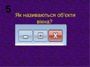 Як називаються об'єкти вікна? 5