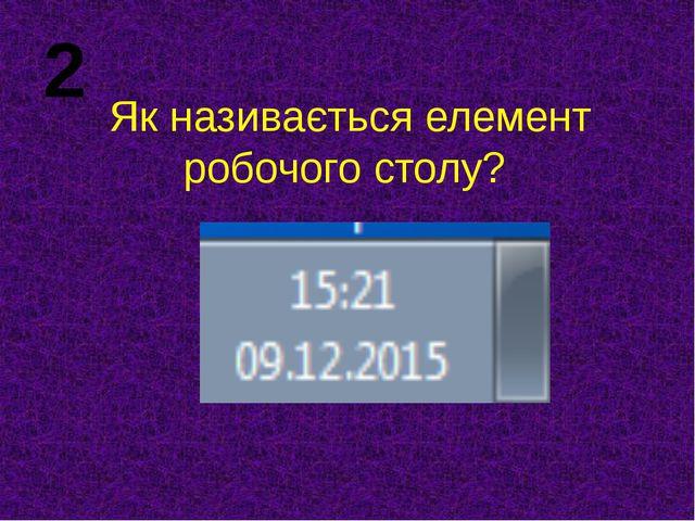 Як називається елемент робочого столу? 2