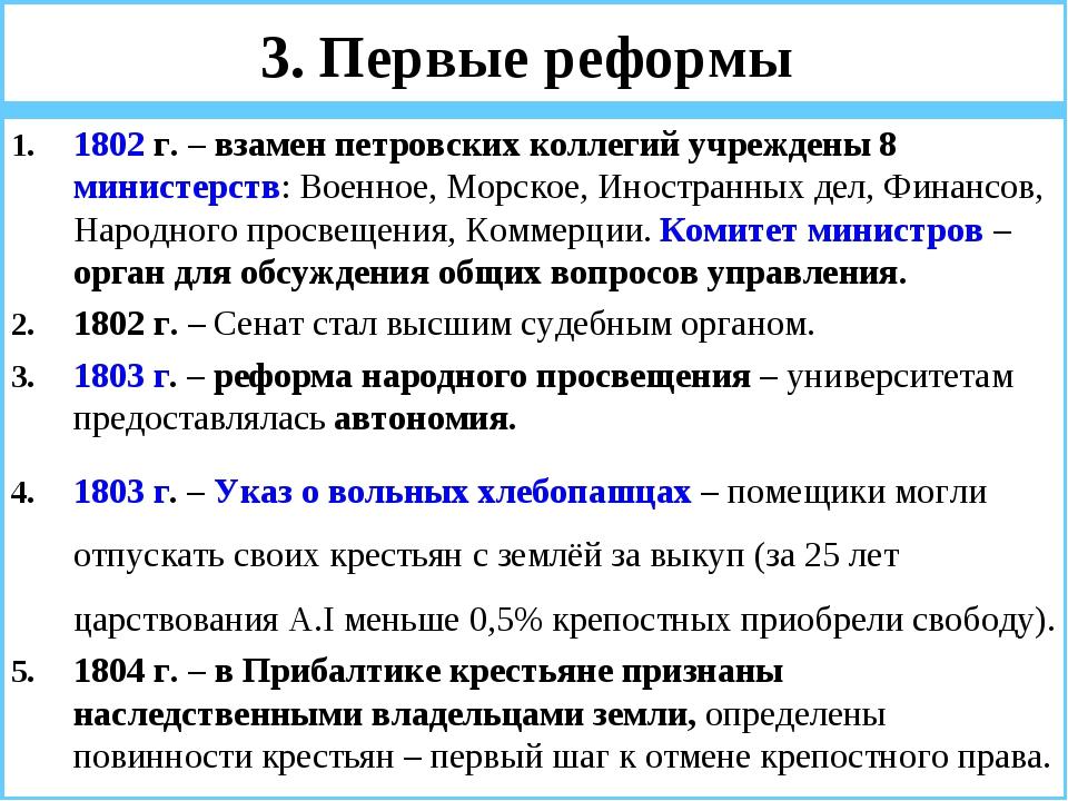3. Первые реформы 1802 г. – взамен петровских коллегий учреждены 8 министерст...