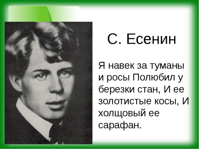 С. Есенин Я навек за туманы и росы Полюбил у березки стан, И ее золотистые ко...