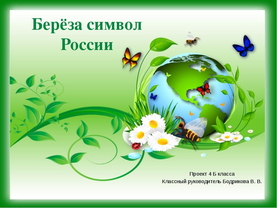 Берёза символ России Проект 4 Б класса Классный руководитель Бодрикова В. В.