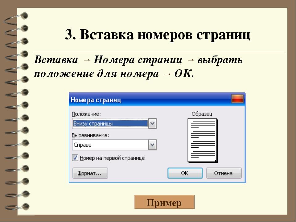 3. Вставка номеров страниц Вставка → Номера страниц → выбрать положение для н...