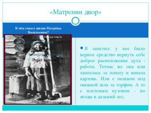 В чём смысл жизни Матрёны Васильевны? Я заметил: у нее было верное средство в