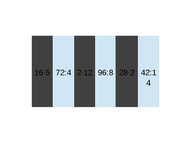 16∙5 72:4 2∙12 96:8 28∙2 42:14